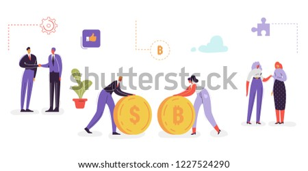 Business Characters Collection. Businessman with Money. Business Cartoons Shaking Hands. Team Work and Partnership Concept. Office Workers Set. Vector illustration #1227524290