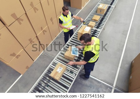 Worker in a warehouse in the logistics sector processing packages on the assembly line  - transport and processing of orders in trade  Royalty-Free Stock Photo #1227541162