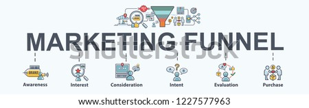 Digital marketing funnel banner design with flat icon and cartoon character. Awareness, Interest, Decision and Action for customer journey infographic. #1227577963