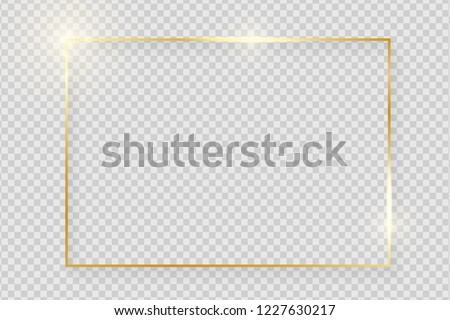 Gold shiny glowing vintage frame with shadows isolated on transparent background. Golden luxury realistic rectangle border. Vector illustration Royalty-Free Stock Photo #1227630217