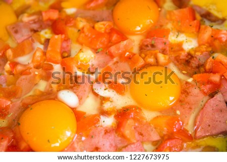 fried eggs with sausage, tomato #1227673975