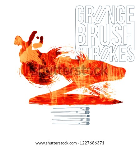 Orange brush stroke and texture. Grunge vector abstract hand - painted element. Underline and border design. #1227686371