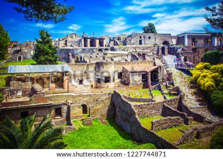 Panoramic view of ancient city of Pompeii with houses and streets. Pompei is ancient Roman city died from eruption of Mount Vesuvius in 1st century, Naples, Italy. #1227744871