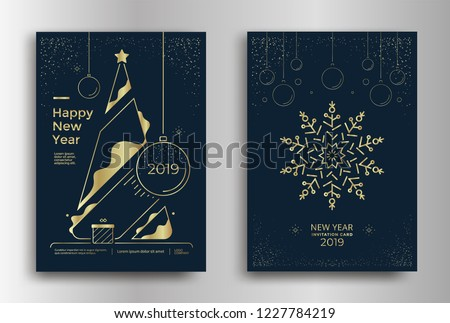 New Year greeting card design with stylized Christmas tree, snowflakes and decorations. Vector golden line illustration