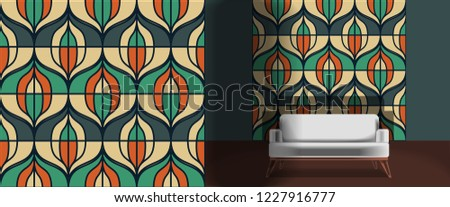 Seamless retro pattern in the style of the sixties. Art deco vintage wallpaper or fabric. Retro interior #1227916777