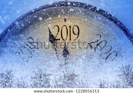 Countdown to midnight. Retro style clock counting last moments before Christmass or New Year 2019. #1228056313
