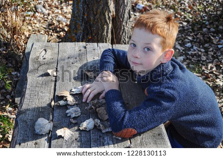the child is sitting at the table outside, on the table dry fallen leaves, blurred background #1228130113