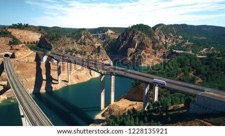 Aerial view of highway and railway bridges in Spain #1228135921