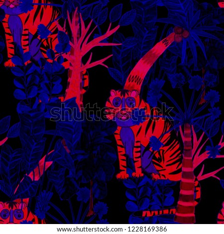 Creative seamless pattern with hand drawn tiger in tropical forest. Trendy style.  #1228169386