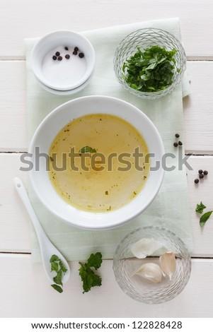 Mint, garlic, salt, pepper and stock for a marinade.
