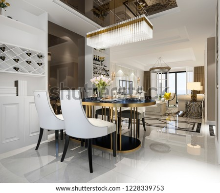 3d rendering modern dining room and living room with luxury decor #1228339753