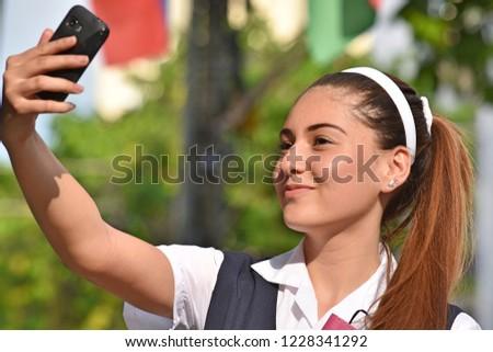 Pretty Hispanic Female Teen Selfie