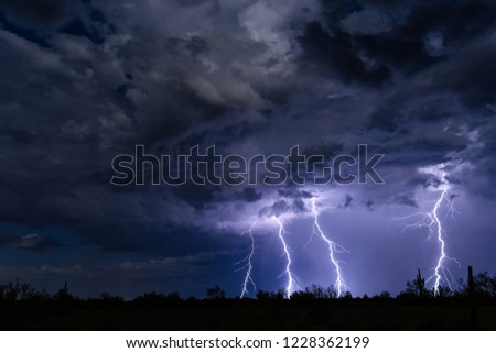 Lightning and thunderstorm at night