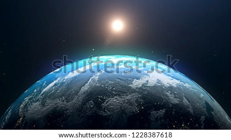 Planet Earth and sun. The sun is rising over World shading atmosphere, shading night to day 3D rendering. #1228387618