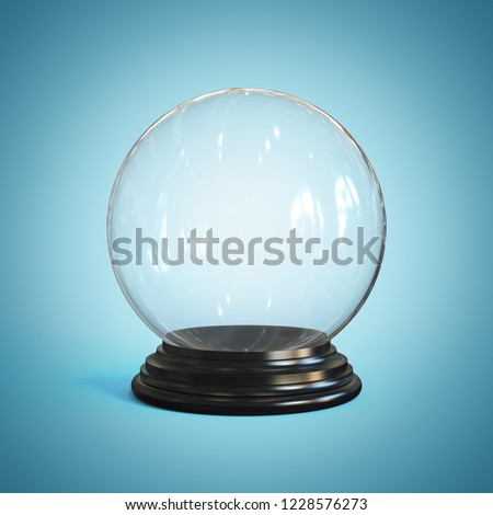 Empty snow globe, glass sphere 3d rendering #1228576273