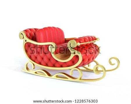Christmas Santa sleigh - red and golden sledge isolated on white background