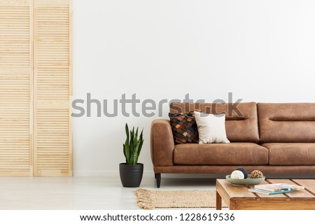 Pillows on brown leather sofa next to plant in white flat interior with wooden screen. Real photo #1228619536