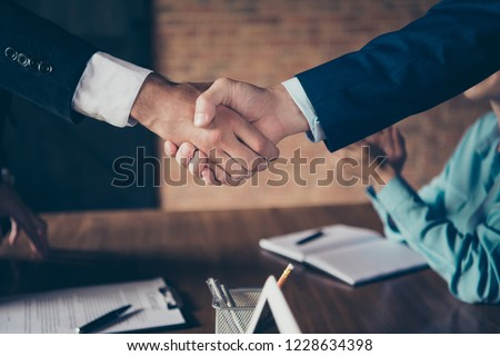 Cropped close-up photo of hands shaking stylish elegant classy chic business sharks executive managers investors congrats start-up at global organization work station place #1228634398