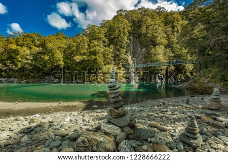 Famous turist attraction - Blue Pools, Haast Pass,  New Zealand, South Island #1228666222