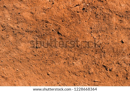 Dry soil texture and background. Red soil background. Abstract ground. Natural abstraction. Clay. Ocher. Red sands #1228668364