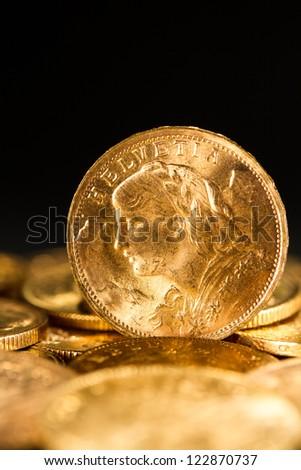 Twenty Swiss Francs gold coins #122870737