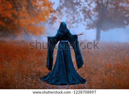 young Dark queen holds hands raised. autumn mystic forest fog orange tree. vintage blue velvet cape dress hood. art photo fantasy mysterious woman silhouette medieval back witch, Halloween design  Royalty-Free Stock Photo #1228708897