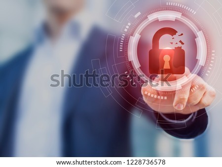 Security breach, system hacked, internet cyber attack alert with red broken padlock icon showing unsecured data, vulnerable access, compromised password, virus infection, businessman touching icon #1228736578