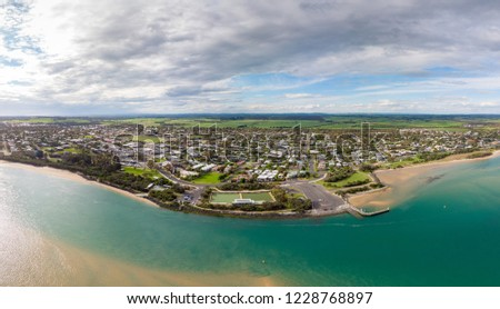 A late afternoon aerial view of Inverloch in Bass Coast, Victoria, Australia #1228768897