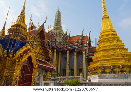 BANGKOK, THAILAND. – On October 09, 2018. -  The Grand Palace has been the official residence of the Kings of Siam since 1782 at the heart of Bangkok. #1228783699