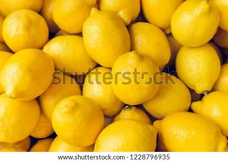 Ripe Yellow Lemons Close-up Background Or Texture. Lemon Harvest, Many Yellow Lemons. #1228796935