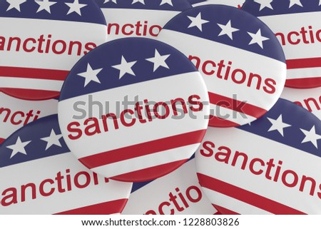 USA Politics News Badges: Pile of Sanctions Buttons With US Flag 3d illustration #1228803826