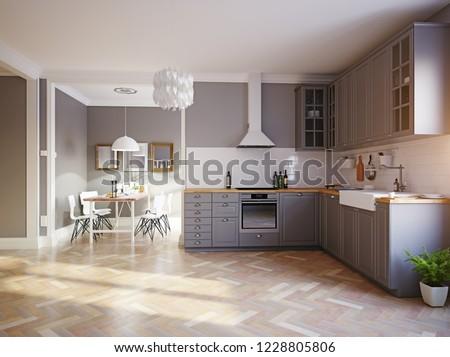 modern style design kitchen interior. 3d rendering concept #1228805806
