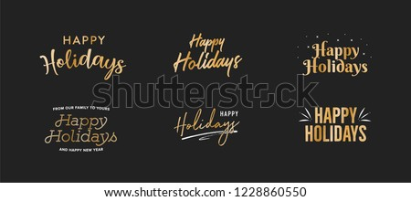 Happy Holidays Text, Happy Holidays Background, Christmas Text, Merry Christmas Text, Holiday Vector Text, Gold Vector Holiday Isolated Illustration Royalty-Free Stock Photo #1228860550