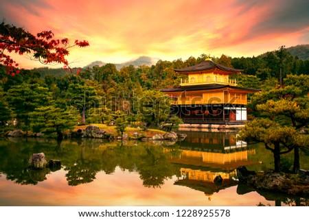 Kinkaku-ji temple ,Temple of the Golden Pavilion kyoto japan one of most popular traveling destination  #1228925578