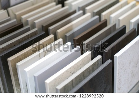 Close up of ktichen countertop samples Royalty-Free Stock Photo #1228992520
