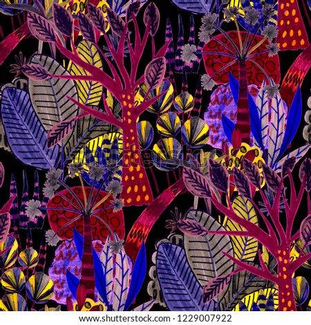 Creative seamless pattern with tropical leaves. Trendy hand drawn texture.  #1229007922