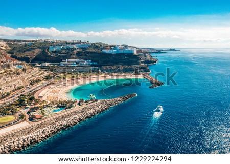 Aerial view of the Gran Canaria island near Amadores beach in Spain #1229224294