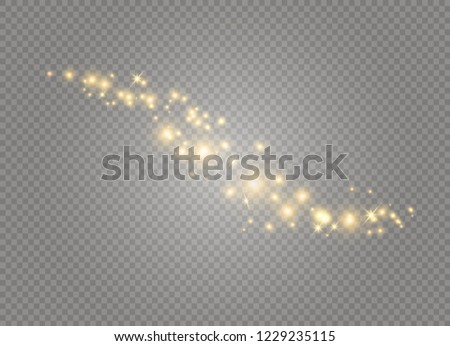 Dust white. White sparks and golden stars shine with special light. Vector sparkles on a transparent background. Christmas abstract pattern. Sparkling magical dust particles. #1229235115