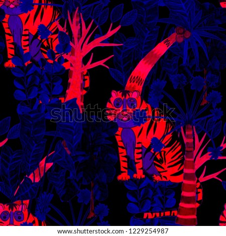 Creative seamless pattern with hand drawn tiger in tropical forest. Trendy style.  #1229254987