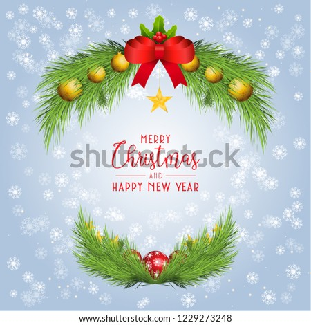 Christmas background  Winter banner with spruce twigs and colorful baubles. Happy new year Concept. #1229273248