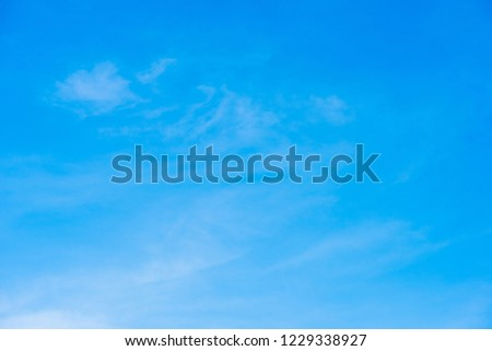Beautiful blue sky with cloud formation background. #1229338927