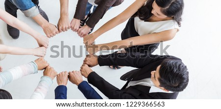 Creative team meeting hands synergy brainstorm business man woman in circle top view on white. Support helping teamwork acquisition together international diversity harmony education people banner Royalty-Free Stock Photo #1229366563