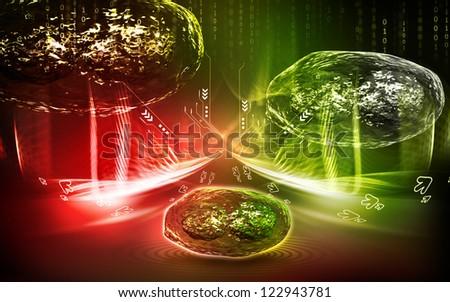 Digital  illustration  of pox virus in   colour background #122943781