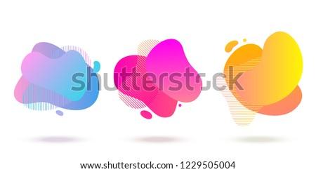 Color abstract liquid shape, halftone patterns, fluid color overlap gradient background. Vector creative neon color splash shapes design #1229505004