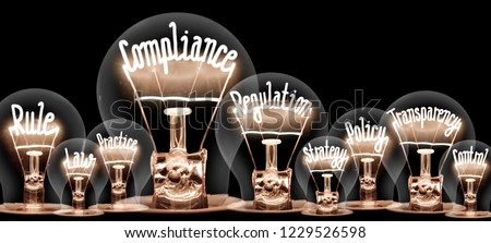 Photo of light bulbs with shining fibers in a shape of COMPLIANCE concept related words isolated on black background #1229526598