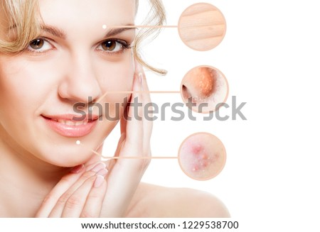 Portrait of young beautiful woman with problem and clean skin. Aging and youth concept. Parts of face before and after concept. Isolated over white #1229538700