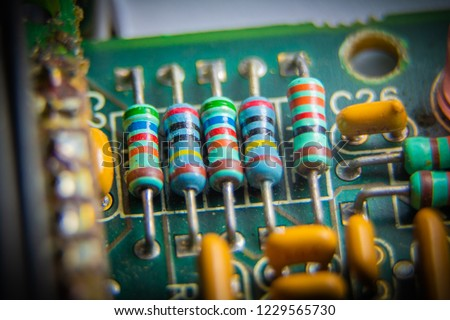 Electronic circuit board, Resistor, used for wallpaper, used as illustrated book,closeup #1229565730