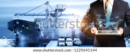 Smart technology concept with global logistics partnership Industrial Container Cargo freight ship, internet of things Concept of fast or instant shipping, Online goods orders worldwide #1229641144
