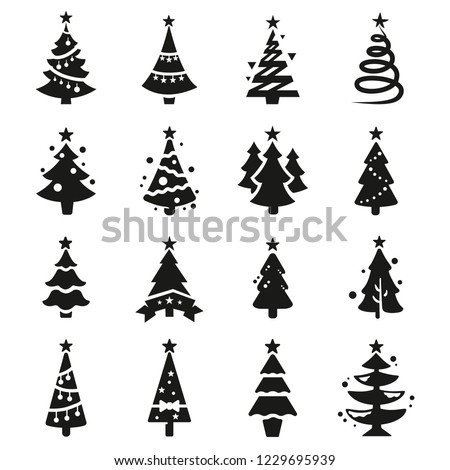 vector icon set of christmas tree with black silhouettes of christmas tree on white background