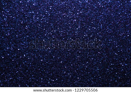 Navy blue sparkling background from small sequins, closeup. Brilliant shiny backdrop from textile. Shimmer denim paper #1229705506